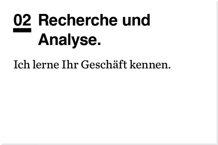 Designprozess. Recherche und Analyse.