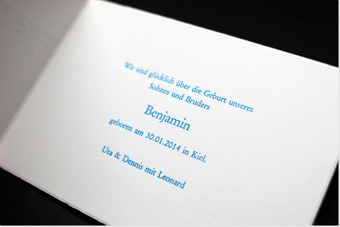 Geburtskarte im Letterpress/Prägedruck