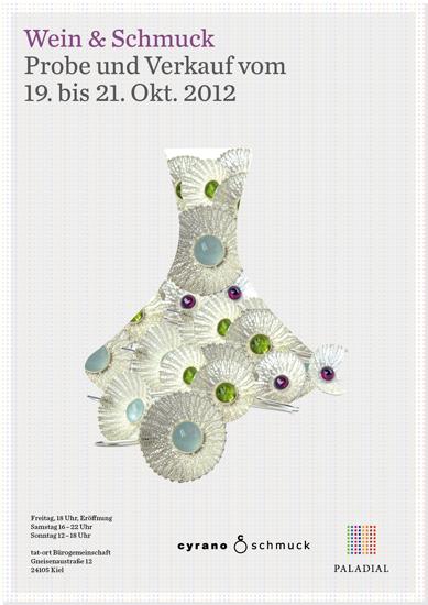 Plakat zur Ausstellung und Weinprobe Wein & Schmuck