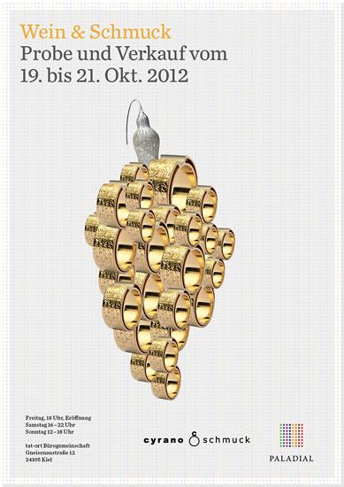 """Plakat zur Ausstellung und Weinprobe """"Wein & Schmuck"""""""