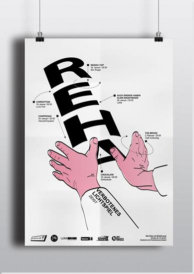 """Plakat für die neue Kinofilmreihe """"REHA."""