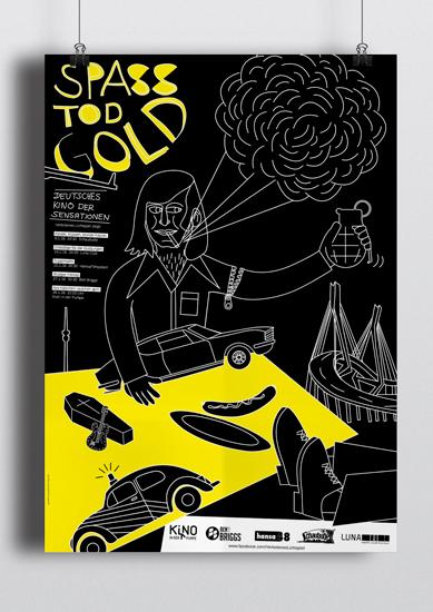 """Plakat für die neue Kinofilmreihe """"SPASS; TOD; GOLD""""."""